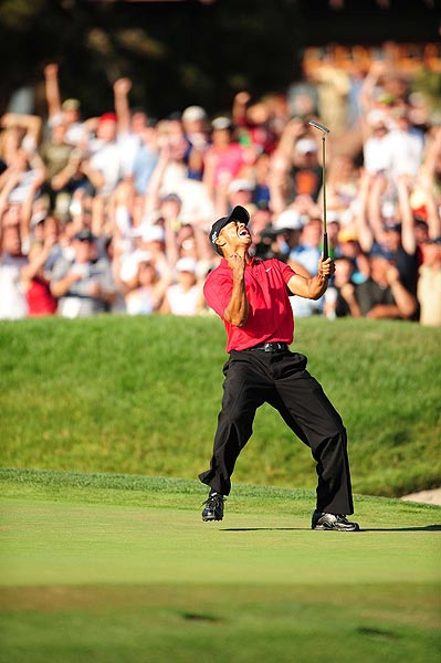 Woods fought through the pain to shoot two-over 73 on Sunday. He forced a Monday playoff with Rocco Mediate when he sunk a 15-foot birdie putt on the 18th green.