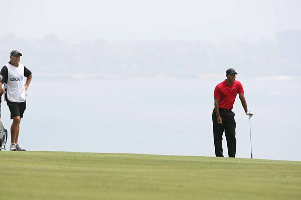 "When asked what his doctor had to say about his injured knee, Tiger, who used his clubs as a crutch throughout the round, said, ""Don't play golf."""