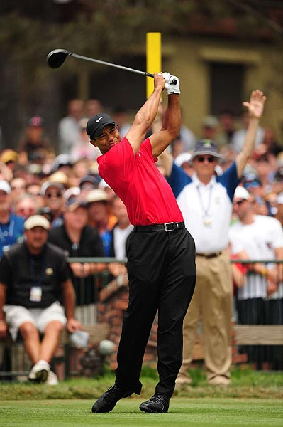 Woods began the final round with a one shot lead, but quickly fell back.