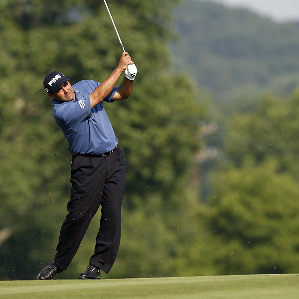 Angel Cabrera started the day with the lead at even par but couldn't hold it. He made seven bogeys and a birdie to shoot 76.