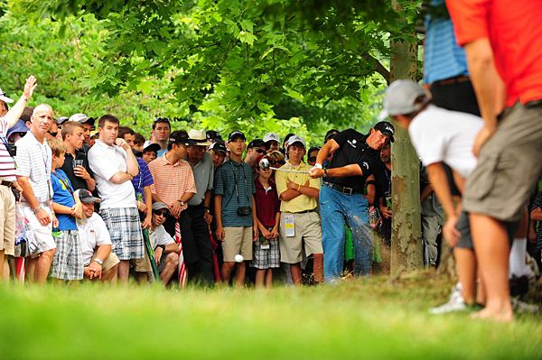 Mickelson found trouble everywhere at Congressional. He was forced to play from the trees ...
