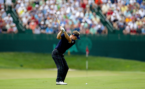 Luke Donald bogeyed No. 17 and double bogeyed No. 18 for a 74.