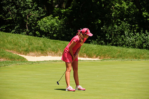 Paula Creamer fell out of contention after two double bogeys and two bogeys on the front nine.
