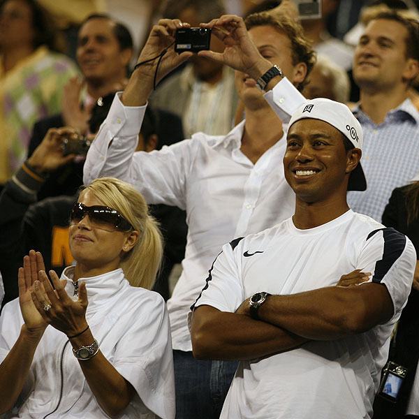 Tiger and Elin watch their friend Roger Federer beat Andy Roddick to win the 2006 U.S. Open.