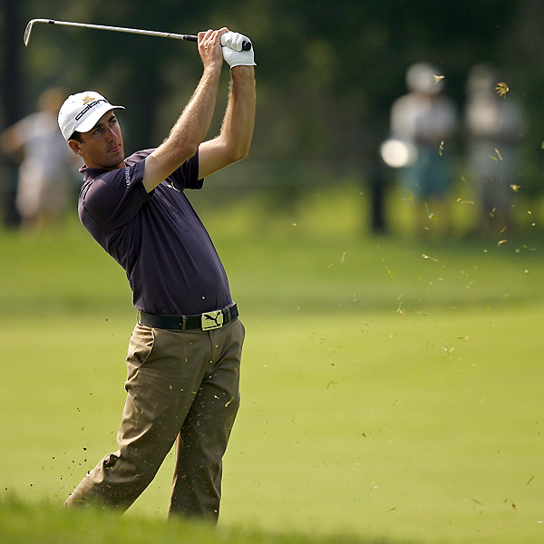 Geoff Ogilvy made an eagle on 15 and a birdie on 18 to shoot a five-under 67. Ogilvy finished the day at seven under.