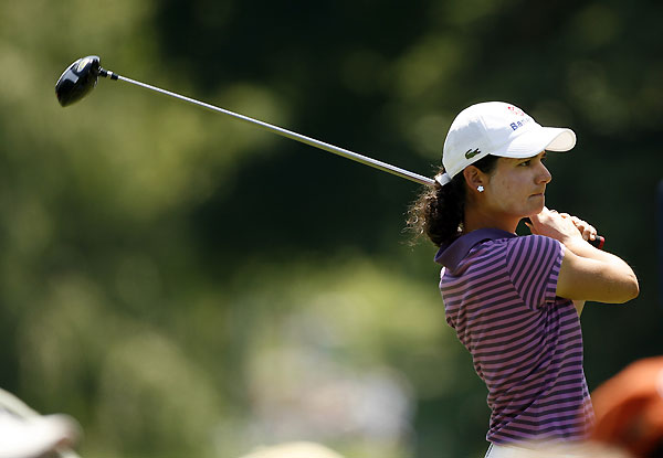 Lorena Ochoa moved within eight shots of the lead with an eagle on 17 and a birdie on 18.