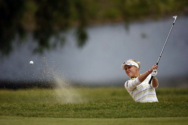 Minea Blomqvist made a double bogey on 17 and finished with a 76.