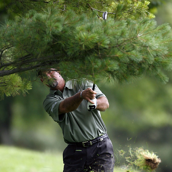 Marco Dawson found some tree trouble on the 18th, but he was able to save par and shoot 68.