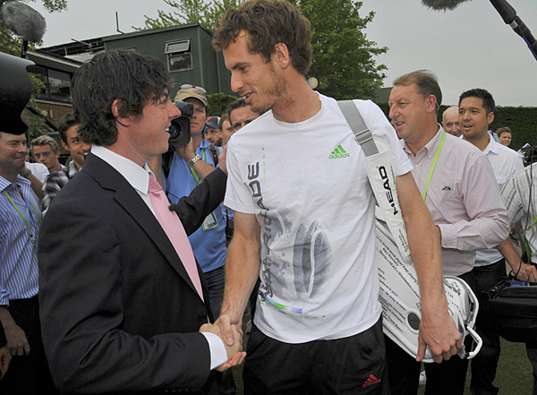 McIlroy visited with Andy Murray before his practice session.