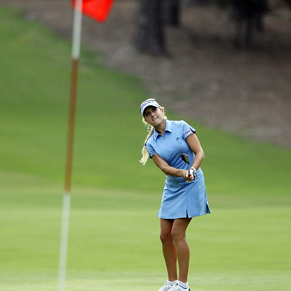 Natalie Gulbis was one over through 14 holes, and five over for the tournament.