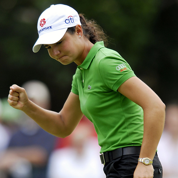 Lorena Ochoa birdied 17 and 18 to remain even par for the tournament.
