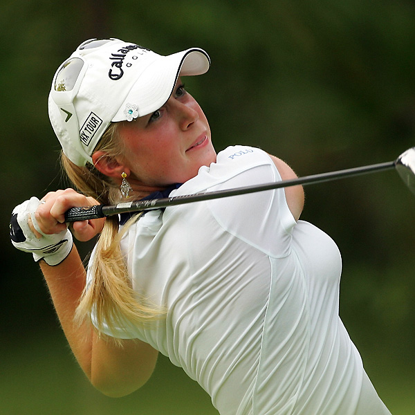 Morgan Pressel, seeking her second major this year, finished the day two off the lead.