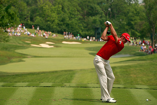made four birdies in the first 10 holes, but he cooled off on the back nine for a 2-under 70.