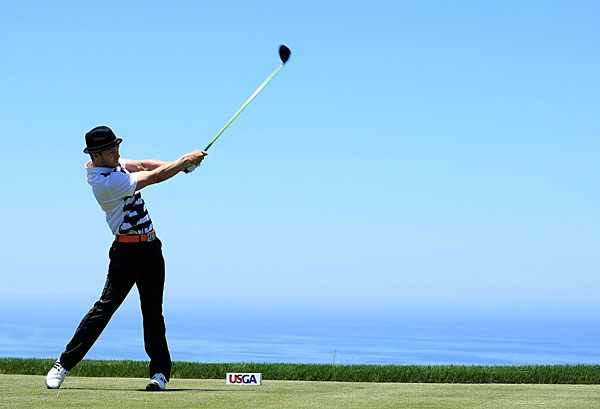 Timberlake's game improved over the last four holes with two pars and two bogeys.