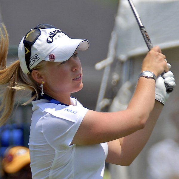Morgan Pressel is three shots back and in contention to win her second major this year.