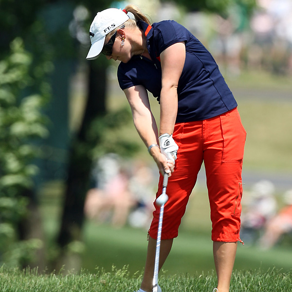 Morgan Pressel will try to win her second major this year, sitting only three shots back.