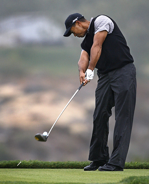 Woods driving on the sixth hole. He is playing his first tournament since undergoing knee surgery shortly after the Masters.