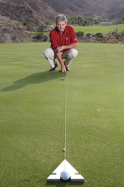 "How to Make More 10-Foot Putts                        Pick an exact intermediate target to stop missing left and right                                              By Dr. David F. Wright                       Top 100 Teacher                                              This story is for you if...                                              • You frequently burn the edge of the hole                                              • You're not sure how to aim your putts                                              • Your putting stroke feels good, so you can't understand why you miss                                              The Problem                                              Even if you're just slightly off with your aim at address, you won't be able to drain those 10-footers that often mean the difference between birdie and par, or between saving par and bogey.                                              The Solution                                              When you line up your putt, pick a precise intermediate target — a blade of grass, for example — and make sure you roll your ball directly over it. These photos show how you need perfect aim on a 10-foot putt; if you're off even half the diameter of the head of a tee, you'll miss the putt, even with a ""perfect"" stroke.                                                                     Line up just a shade too far right and you'll miss this 10-foot putt right."
