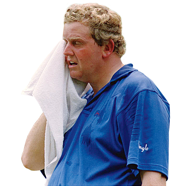VICTIM                                              Colin Montgomerie                       1994                                              SITE: Oakmont Country Club, Oakmont, Pa.                                              This is what Oakmont in June can do to a man. A cherry-faced Montgomerie battled commendably on Sunday [pictured], shooting a 70 to sneak into a playoff with Ernie Els and Loren Roberts. But in scorching heat on Monday, a worn-out Monty quickly wilted, limping home with a 78 to lose by four.