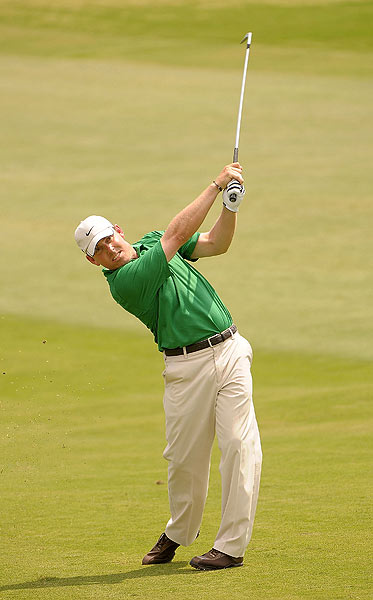 First Round of Texas Open                           Playing in the afternoon, Justin Leonard shot a bogey-free 63 for a share of the lead.