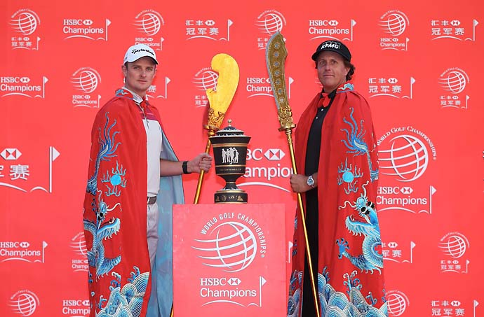 """Obviously Phil and Keegan are great friends, as we know, they play Ryder Cups and Presidents Cups together, so I just asked them to keep the high‑fives to a minimum out there today.""                           Justin Rose on being paired with Phil Mickelson and Keegan Bradley at the HSBC Champions in Shanghai."
