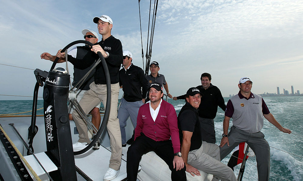 With the help of boat skipper Ian Walker, Kaymer took the helm at the 2011 Abu Dhabi HSBC Golf Championship. Kaymer was joined by Paul Casey, Louis Oosthuizen, Graeme McDowell, Mickelson, Jose Maria Olazabal and Westwood.