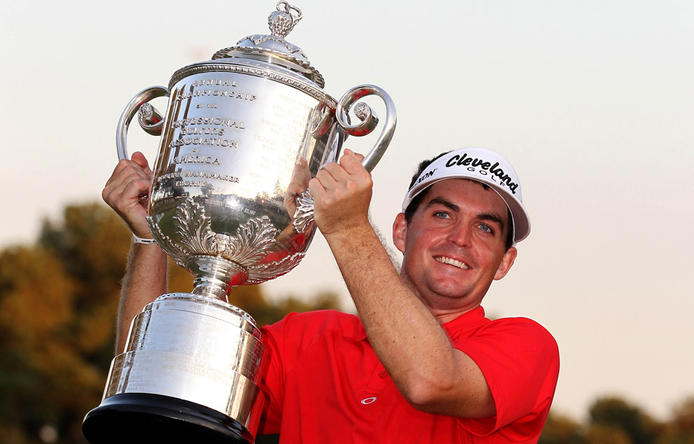 Due to his rookie status, Bradley did not make the fields at the year's first three majors: the Masters, the U.S. Open and the British Open. With his win at the Byron Nelson, he qualified for the PGA Championship, where he shocked the world by beating Jason Dufner in a three-hole playoff to capture the coveted Wanamaker Trophy.