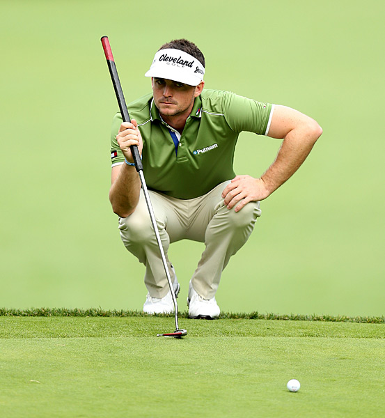 Keegan Bradley is among a group of three players three shots off the lead.