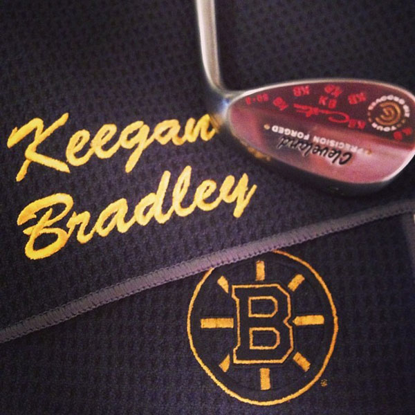 @keeganbradley1: My new @clevelandgolf wedge and my @nhlbruinstowel! #caddytowel #bestwedgeingolf