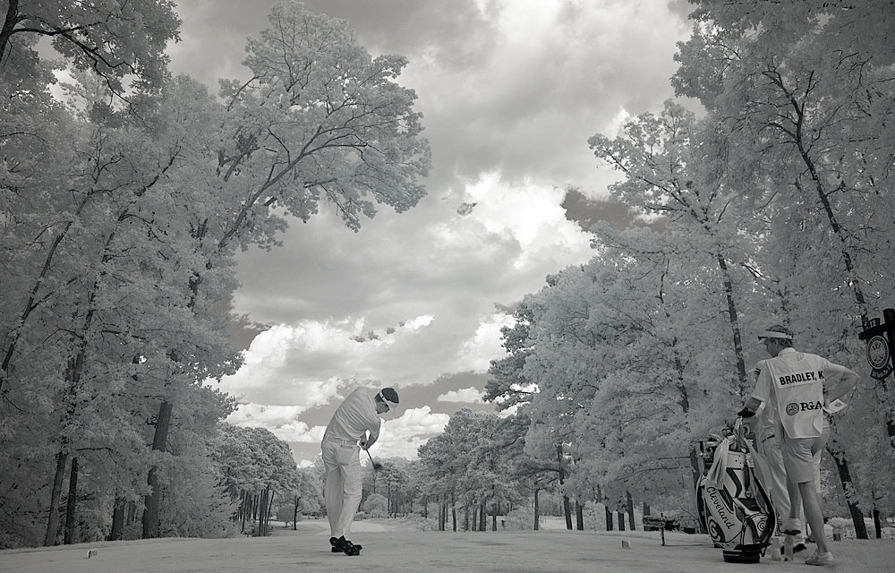 Photographer Robert Beck also captured the infrared light on this shot of Bradley at the PGA Championship.