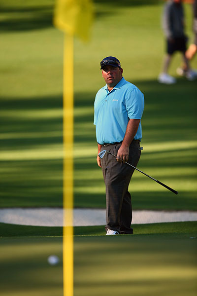 Kevin Stadler, playing in his first Masters, was two shots back of the lead after a 70.