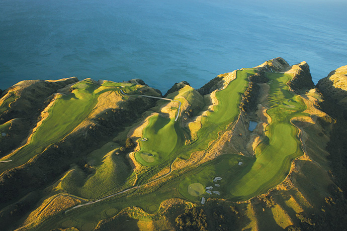 Cape Kidnappers (38 World) and Kauri Cliffs (74 World)                           It's possible that you've played better courses (it's also likely that you haven't). But you've never teed it up anywhere more scenic than these unspoiled, cinematic settings. Sister layouts, Cape Kidnappers and Kauri Cliffs sit some 400 miles apart, but they're linked by air service: helicopters, planes. And once you've traveled that far, what's another two-to-three hour flight? (Pictured: Cape Kidnappers)