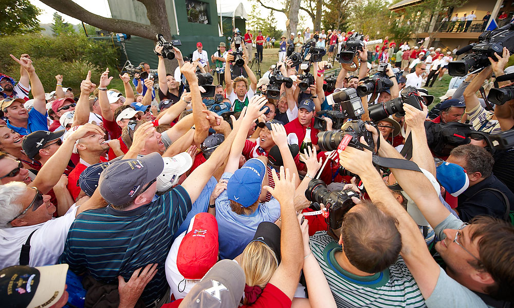 Anthony Kim, who went 2-1-1 in his first Ryder Cup, doused the American fans in Kentucky with champagne.
