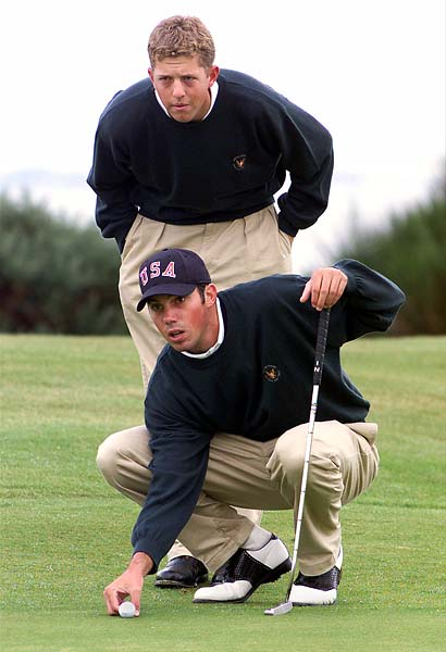 Matt Kuchar and Bryce Molder at the 1999 Walker Cup at Nairn Golf Club in Scotland. Great Britain and Ireland won the event that year.