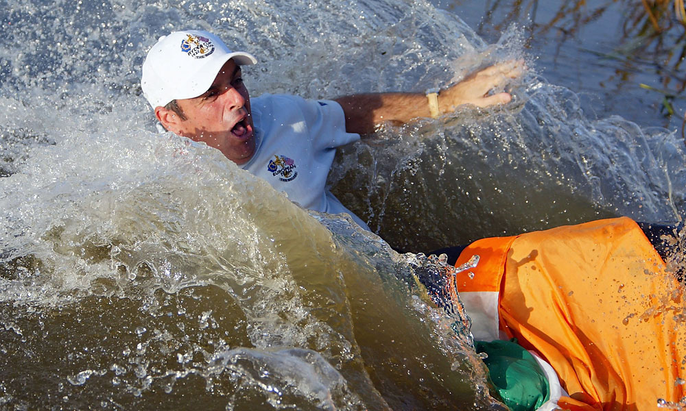 McGinley was then thrown into a lake by his teammates.