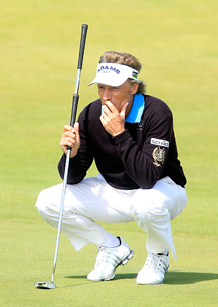 Bernhard Langer was four under on the day and is in sole possession of first heading into Sunday.