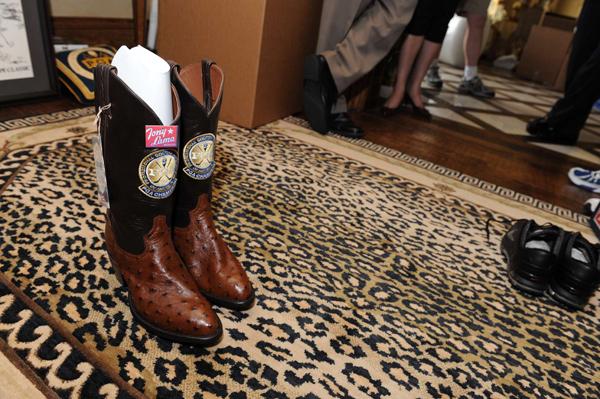 Tony Lama cowboy boots Wadkins got as a past champion at the 2003 PGA Championship.