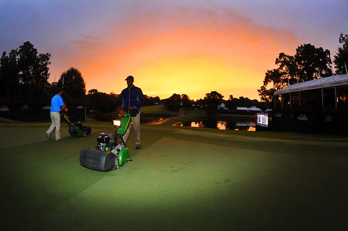 It wasn't a beautiful day for golf on Saturday at East Lake, but it was a beautiful morning for mowing the course.