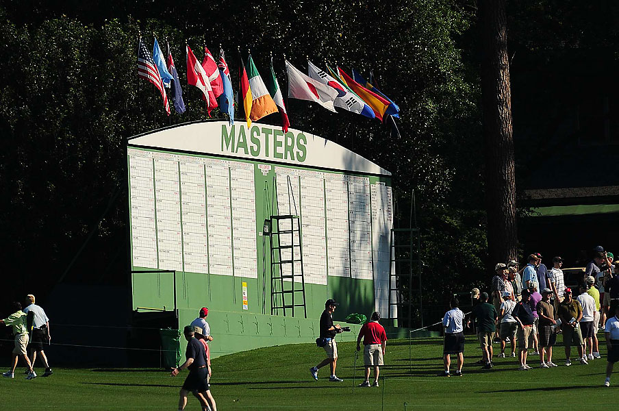 One of the manual leaderboards at Augusta National.