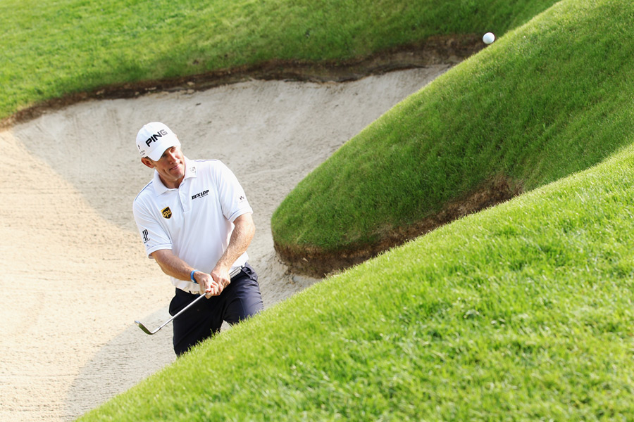 Lee Westwood overcame an early double bogey to shoot a two-under 70.