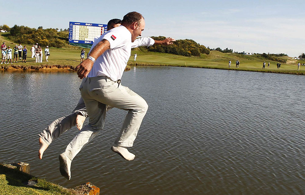 Thomas Levet                           Reason to Celebrate: Levet won the French Open for the first time in his career and celebrated by jumping into a pond. Unfortunately for Levet, he broke his shin when he jumped and had to withdraw from the British Open.