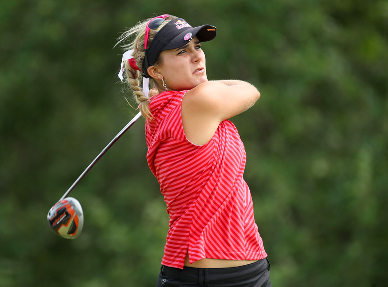 Lexi Thompson overcame a double bogey to shoot even par.