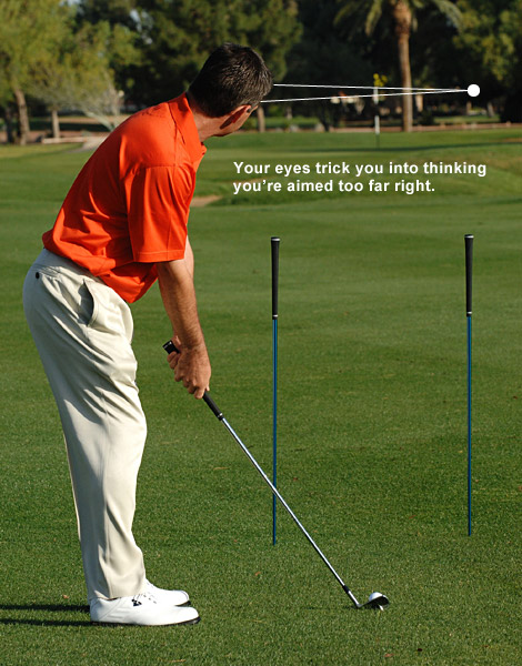 2. Now set up to the ball and look at your target. Like you've experienced before, you'll feel that you have to swing left of where you're aimed to hit toward the flag.