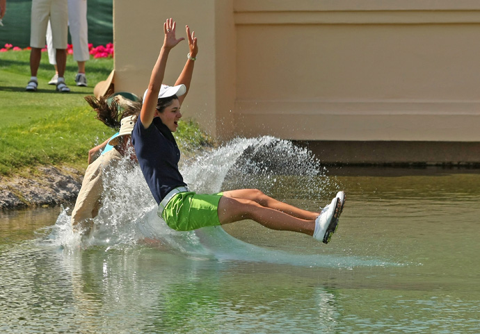 Lorena Ochoa's entire family ran into the pond after she won in 2008.