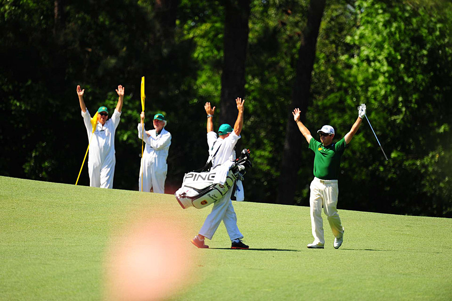 """Oosthuizen started his round by making the first double eagle ever on the par-5 second hole. """"That was my first double eagle ever, and to do it in a spot like Augusta, that's special,"""" he said."""