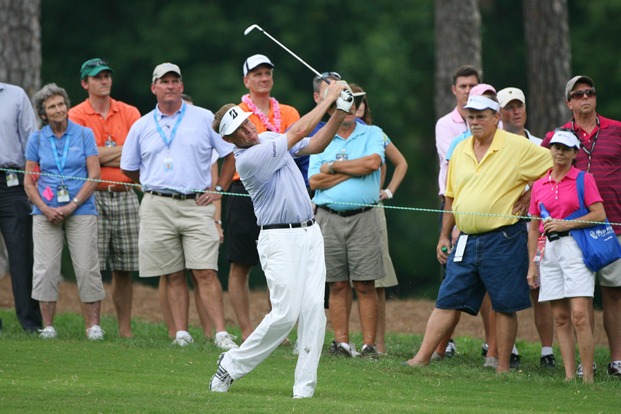 U.S. Ryder Cup captain Davis Love III made seven birdies, a bogey and a double bogey for a 66.