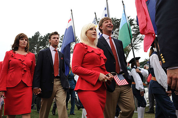 Lucas Glover and wife, Jennifer, were followed by Sean O'Hair and his wife, Jackie.