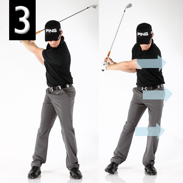 "This plane-finding move gives you the freedom to swing fast.""Once you're at the top of your backswing, start back down by leaning your entire body toward the target. Leaning automatically gets your weight going forward like it should, and it keeps your club from falling off plane, which can't happen if you're looking to compress the ball for max yards and spin.I practice it by swinging to the top, pausing, then shifting to the left until my chest and belt buckle are slightly ahead of the ball. It should feel like you're really leaning into the shot, like you would if you were throwing a punch or un-jamming a stuck door with your left shoulder."""