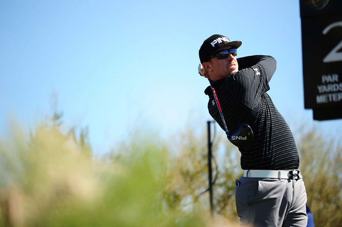 Poulter will face defending champion Hunter Mahan in the semifinals on Sunday morning. Mahan beat Webb Simpson, 1 up.
