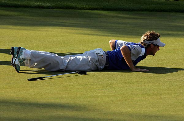 Lake Nona's Ian Poulter, here doing his best Camilo Villegas impression, finished second in the individual event.